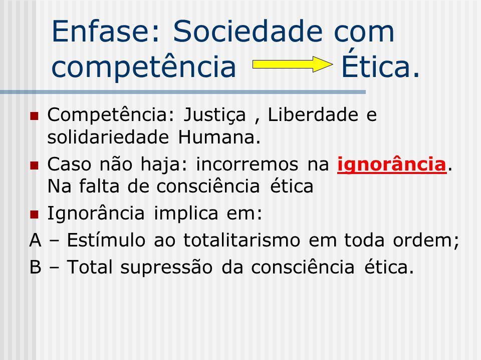 Enfase: Sociedade com competência Ética. Competência: Justiça, Liberdade e solidariedade Humana. Caso não haja: incorremos na ignorância. Na falta de
