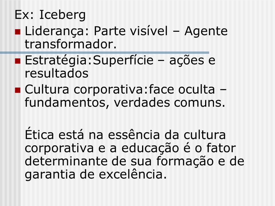 Ex: Iceberg Liderança: Parte visível – Agente transformador. Estratégia:Superfície – ações e resultados Cultura corporativa:face oculta – fundamentos,