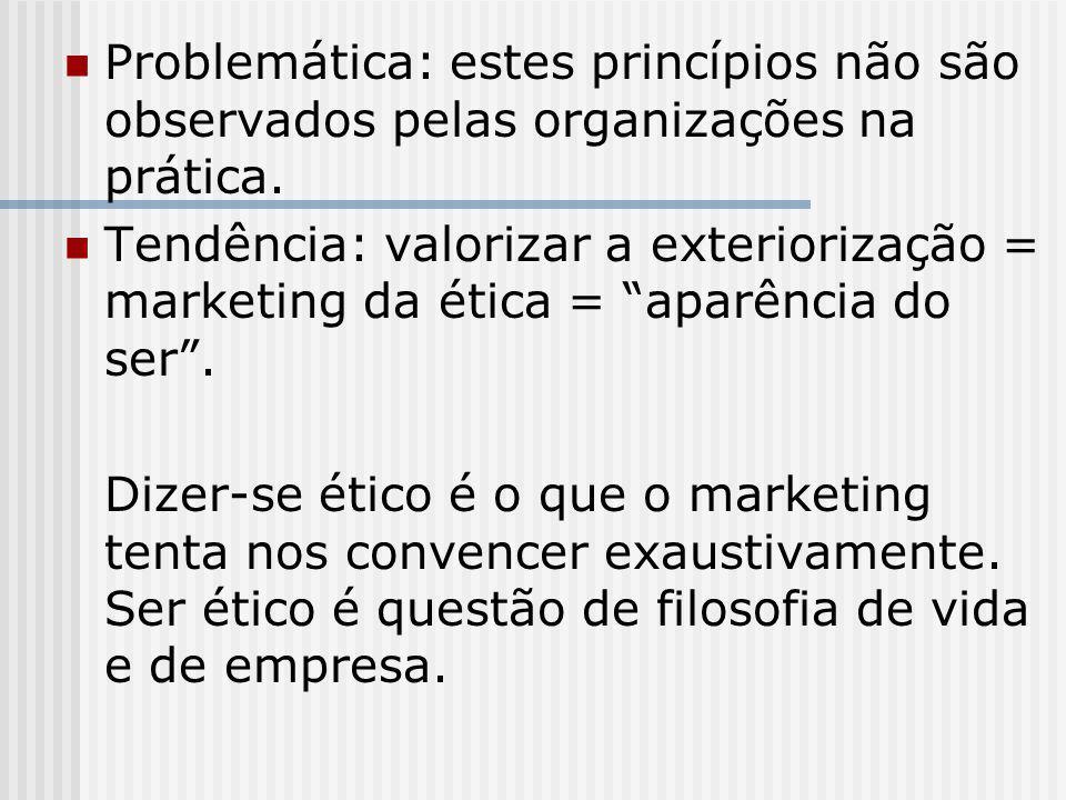 """Problemática: estes princípios não são observados pelas organizações na prática. Tendência: valorizar a exteriorização = marketing da ética = """"aparênc"""