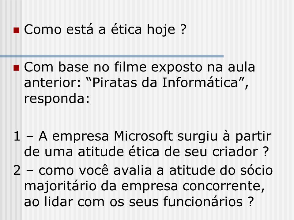 """Como está a ética hoje ? Com base no filme exposto na aula anterior: """"Piratas da Informática"""", responda: 1 – A empresa Microsoft surgiu à partir de um"""