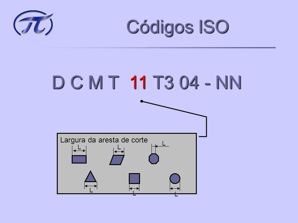 Códigos ISO D C M T 11 T3 04 - NN Tipo de inserto A Furo cilíndrico sem quebra cavaco M Furo cilíndrico com quebra cavaco G Furo cilíndrico com quebra