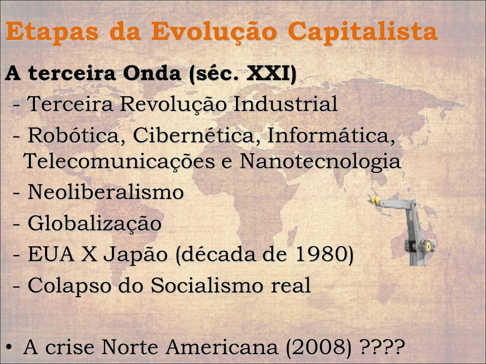 Etapas da Evolução Capitalista A terceira Onda (séc. XXI) - Terceira Revolução Industrial - Terceira Revolução Industrial - Robótica, Cibernética, Inf