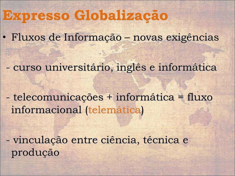 Expresso Globalização Fluxos de Informação – novas exigências Fluxos de Informação – novas exigências - curso universitário, inglês e informática - cu
