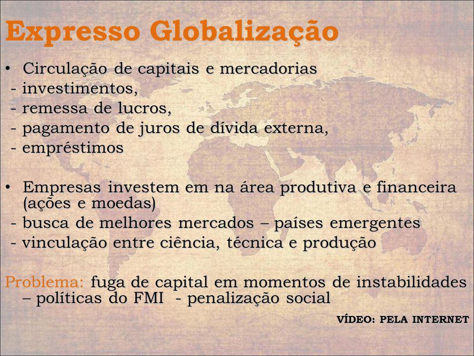 Expresso Globalização Circulação de capitais e mercadorias Circulação de capitais e mercadorias - investimentos, - investimentos, - remessa de lucros,