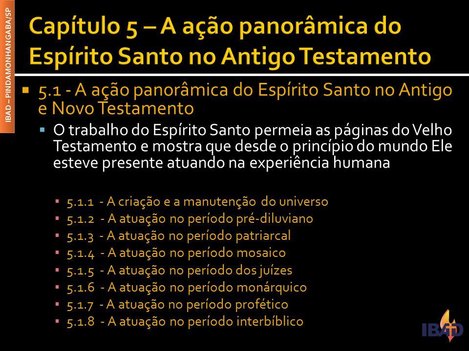 IBAD – PINDAMONHANGABA/SP  5.1 - A ação panorâmica do Espírito Santo no Antigo e Novo Testamento  O trabalho do Espírito Santo permeia as páginas do
