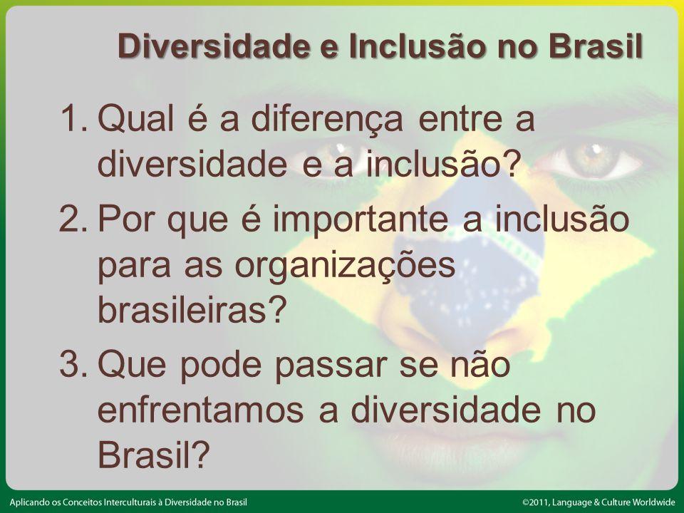 Diversidade e Inclusão no Brasil 1.Qual é a diferença entre a diversidade e a inclusão.
