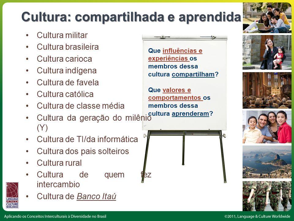 Cultura: compartilhada e aprendida Que influências e experiências os membros dessa cultura compartilham.