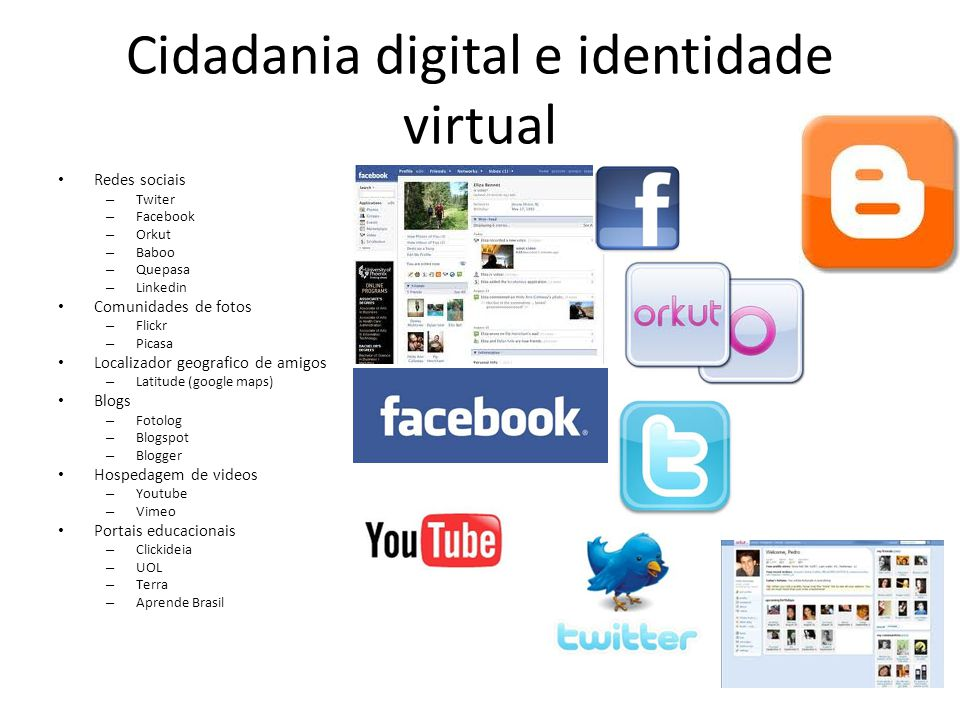Cidadania digital e identidade virtual Redes sociais – Twiter – Facebook – Orkut – Baboo – Quepasa – Linkedin Comunidades de fotos – Flickr – Picasa L