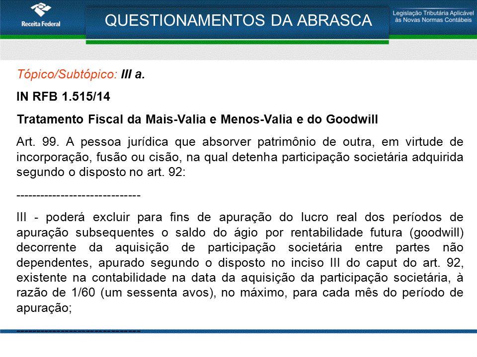 QUESTIONAMENTOS DA ABRASCA Tópico/Subtópico: III a. IN RFB 1.515/14 Tratamento Fiscal da Mais-Valia e Menos-Valia e do Goodwill Art. 99. A pessoa jurí