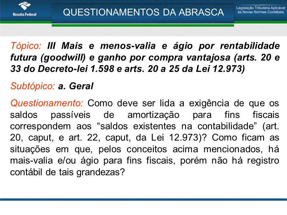 QUESTIONAMENTOS DA ABRASCA Tópico: III Mais e menos-valia e ágio por rentabilidade futura (goodwill) e ganho por compra vantajosa (arts.