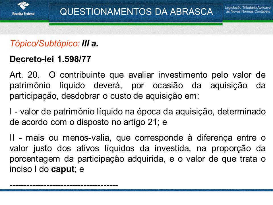 QUESTIONAMENTOS DA ABRASCA Tópico/Subtópico: III a. Decreto-lei 1.598/77 Art. 20. O contribuinte que avaliar investimento pelo valor de patrimônio líq
