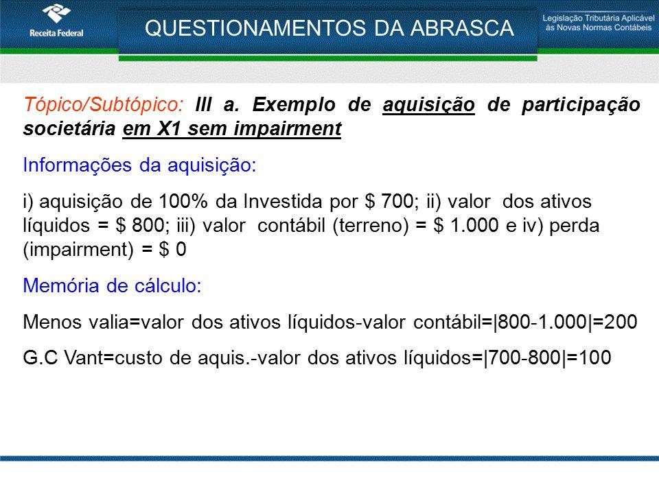 QUESTIONAMENTOS DA ABRASCA Tópico/Subtópico: III a. Exemplo de aquisição de participação societária em X1 sem impairment Informações da aquisição: i)