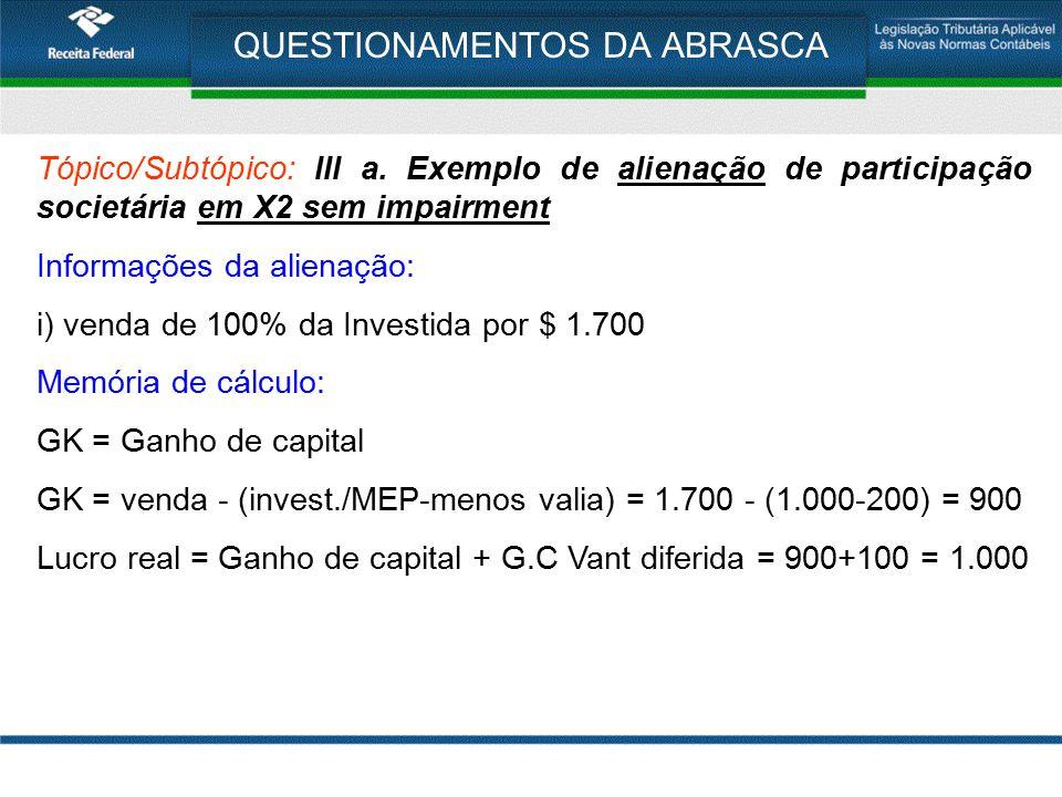 QUESTIONAMENTOS DA ABRASCA Tópico/Subtópico: III a. Exemplo de alienação de participação societária em X2 sem impairment Informações da alienação: i)