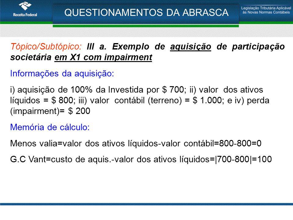 QUESTIONAMENTOS DA ABRASCA Tópico/Subtópico: III a. Exemplo de aquisição de participação societária em X1 com impairment Informações da aquisição: i)