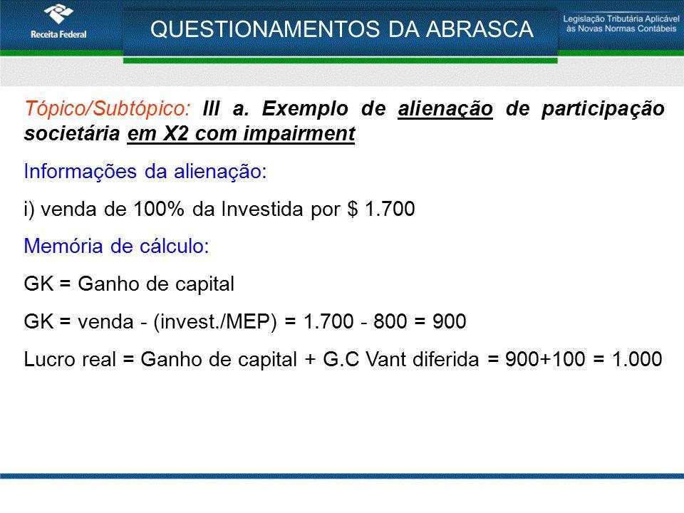 QUESTIONAMENTOS DA ABRASCA Tópico/Subtópico: III a. Exemplo de alienação de participação societária em X2 com impairment Informações da alienação: i)