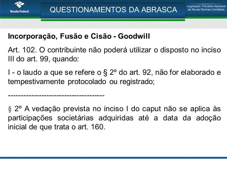 QUESTIONAMENTOS DA ABRASCA Incorporação, Fusão e Cisão - Goodwill Art. 102. O contribuinte não poderá utilizar o disposto no inciso III do art. 99, qu