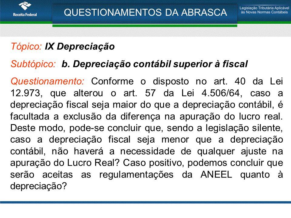QUESTIONAMENTOS DA ABRASCA Tópico: IX Depreciação Subtópico: b. Depreciação contábil superior à fiscal Questionamento: Conforme o disposto no art. 40