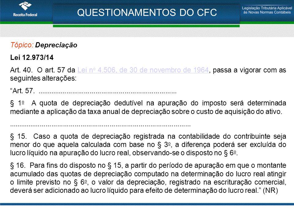 QUESTIONAMENTOS DO CFC Tópico: Depreciação Lei 12.973/14 Art. 40. O art. 57 da Lei n o 4.506, de 30 de novembro de 1964, passa a vigorar com as seguin