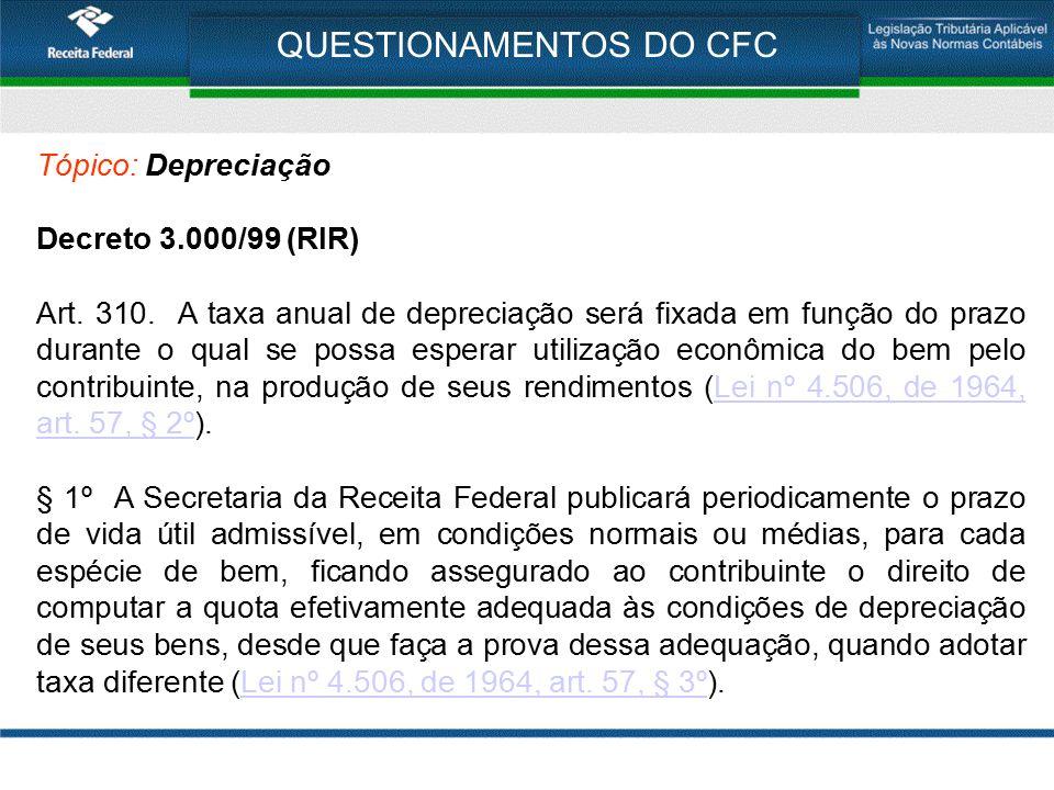 QUESTIONAMENTOS DO CFC Tópico: Depreciação Decreto 3.000/99 (RIR) Art. 310. A taxa anual de depreciação será fixada em função do prazo durante o qual