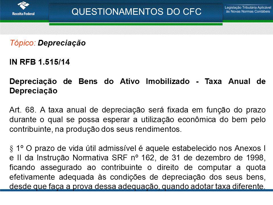 QUESTIONAMENTOS DO CFC Tópico: Depreciação IN RFB 1.515/14 Depreciação de Bens do Ativo Imobilizado - Taxa Anual de Depreciação Art. 68. A taxa anual