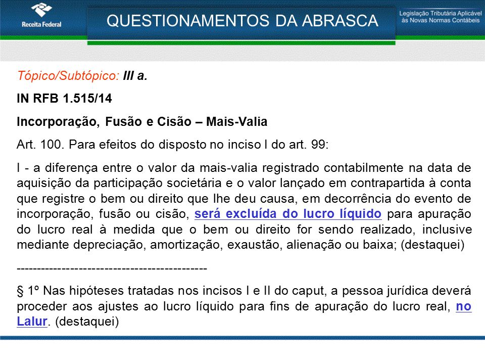 QUESTIONAMENTOS DA ABRASCA OBRIGADO PELA ATENÇÃO!