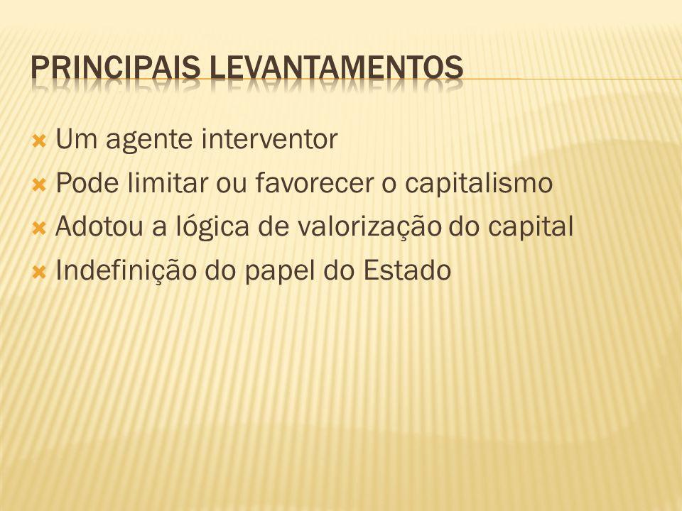  Um agente interventor  Pode limitar ou favorecer o capitalismo  Adotou a lógica de valorização do capital  Indefinição do papel do Estado
