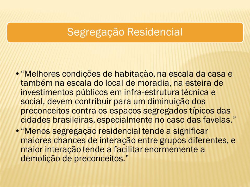 """Segregação Residencial """"Melhores condições de habitação, na escala da casa e também na escala do local de moradia, na esteira de investimentos público"""