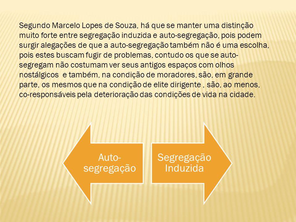 Segundo Marcelo Lopes de Souza, há que se manter uma distinção muito forte entre segregação induzida e auto-segregação, pois podem surgir alegações de