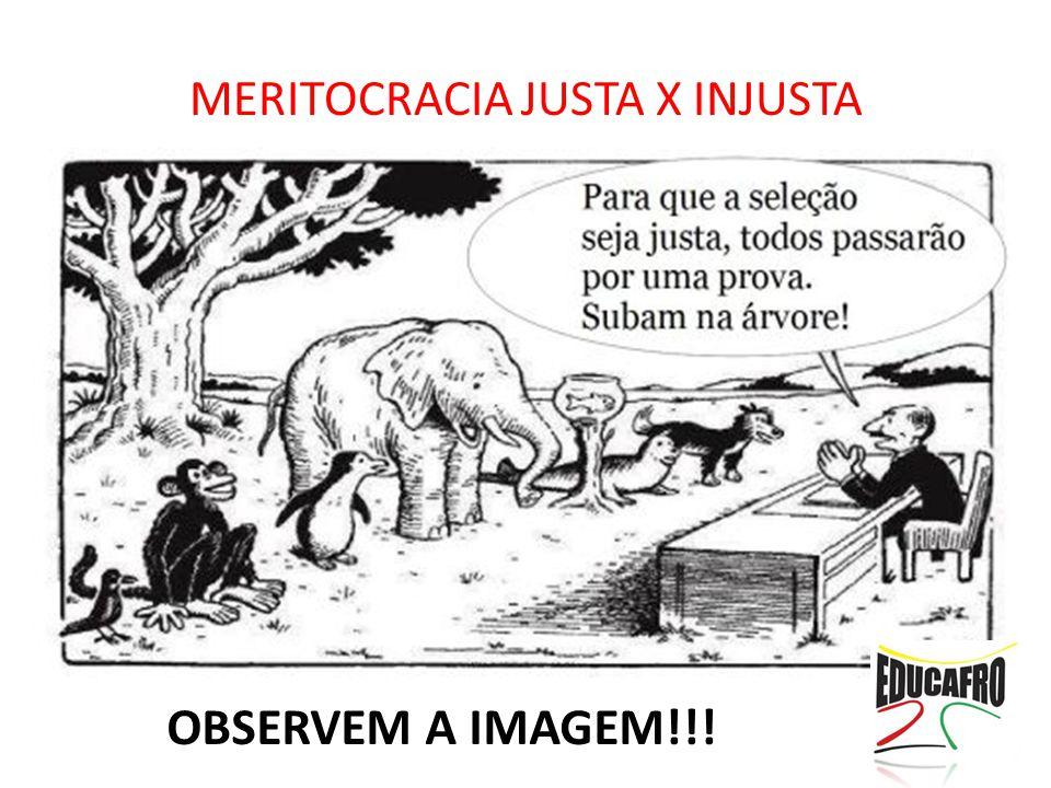 MERITOCRACIA JUSTA X INJUSTA OBSERVEM A IMAGEM!!!