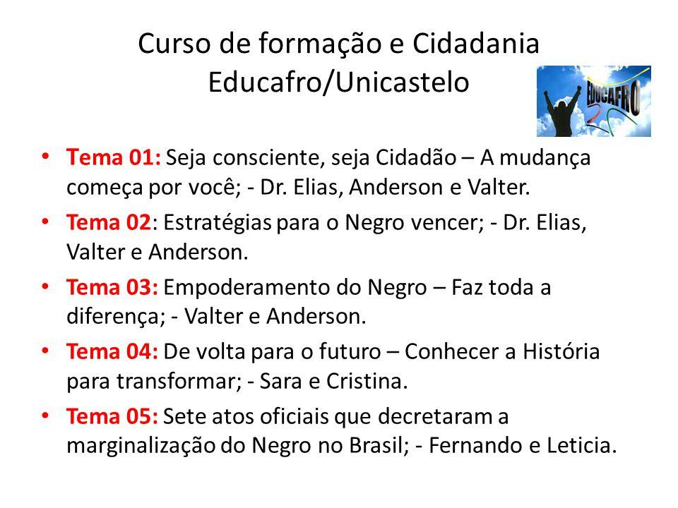 Curso de formação e Cidadania Educafro/Unicastelo T ema 01: Seja consciente, seja Cidadão – A mudança começa por você; - Dr. Elias, Anderson e Valter.