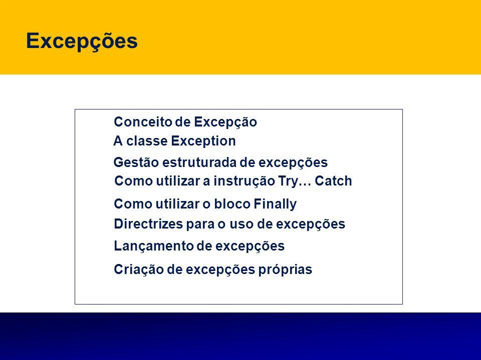 Objectivos Conhecer e utilizar os mecanismos de gestão estruturada de excepções do VB Conhecer e utilizar os mecanismos de gestão estruturada de excepções do VB Definir excepção; Conhecer as principais excepções predefinidas do VB; Conhecer a sua sintaxe; Gerir erros de execução utilizando a nova rotina de tratamento de erros Try…Catch ; Utilizar as principais excepções predefinidas no VB; Saber quando deve implementar este método de gestão de erros; Reconhecer a utilidade da gestão estruturada de excepções; Conhecer e aplicar o conceito de lançamento de excepções, no contexto do desenvolvimento de aplicações em VB.