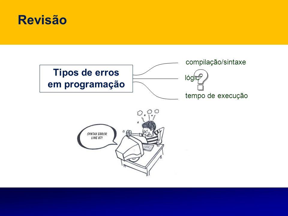 compilação/sintaxe lógica tempo de execução Revisão Tipos de erros em programação