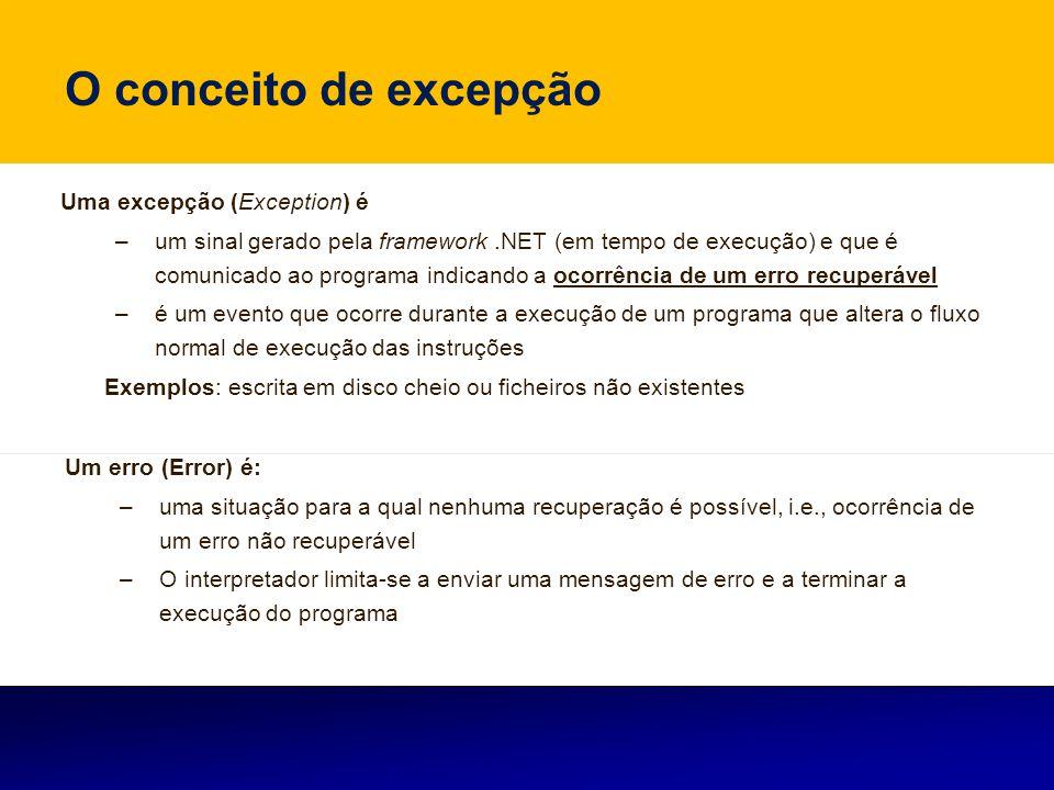 O conceito de excepção Uma excepção (Exception) é –um sinal gerado pela framework.NET (em tempo de execução) e que é comunicado ao programa indicando