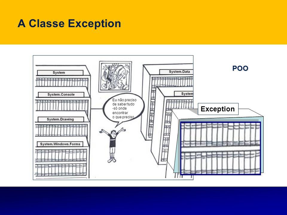 A Classe Exception Hierarquia de classes de excepções (Exception é a classe base) Todas as excepções são instâncias da respectiva classe de Excepção (Exception) Exception