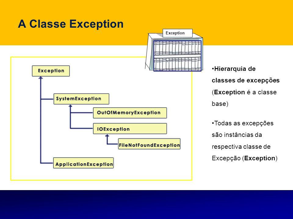 A Classe Exception Hierarquia de classes de excepções (Exception é a classe base) Todas as excepções são instâncias da respectiva classe de Excepção (