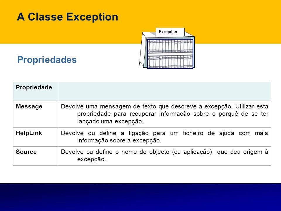 A Classe Exception Exception Propriedades Propriedade MessageDevolve uma mensagem de texto que descreve a excepção. Utilizar esta propriedade para rec