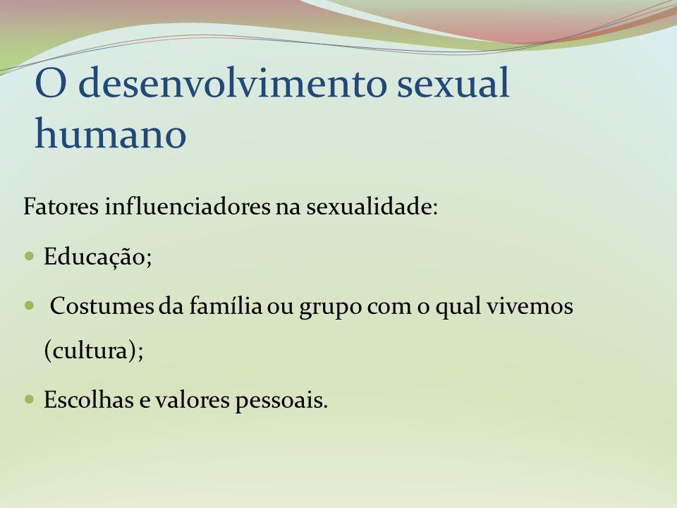 Assim como a alimentação e o descanso, o sexo proporciona sensações de prazer que estão associadas a centros específicos do cérebro, quando estes são estimulados vem a sensação de prazer O desenvolvimento sexual humano