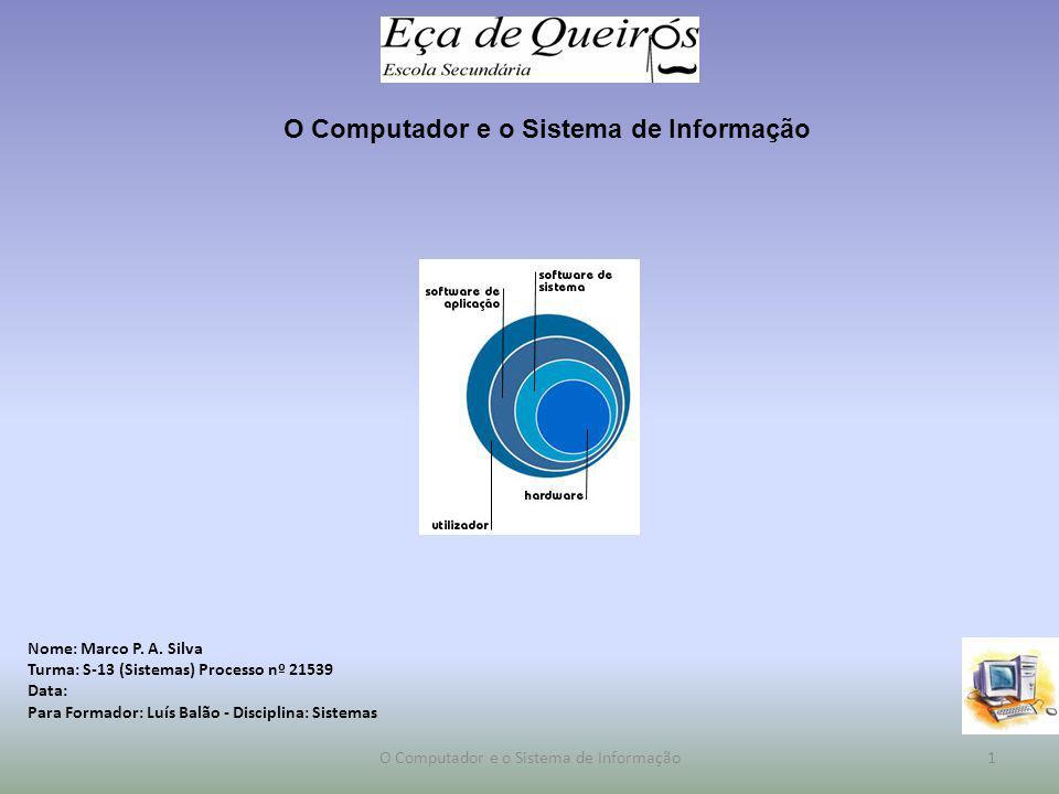 Índice Noção de sistema de informação Tecnologias da Informação – Equipamentos e outros componentes O Sistema de Informação no Escritório – O Software de Sistema e Aplicação 2O Computador e o Sistema de Informação