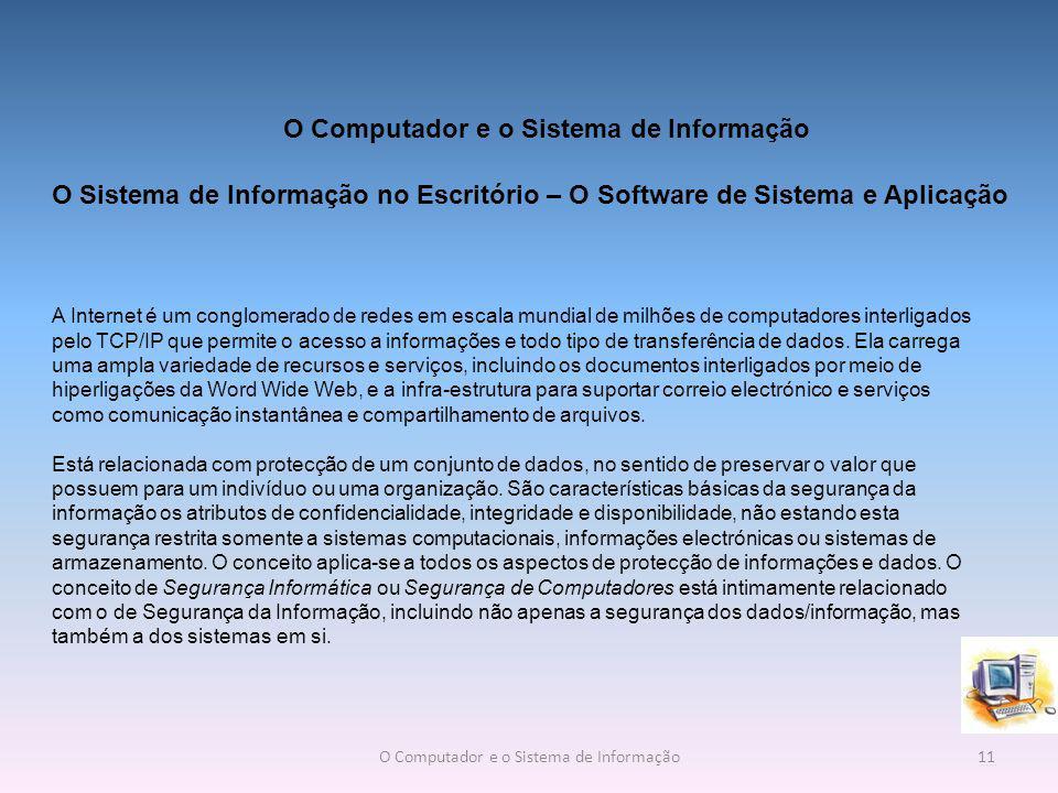 O Sistema de Informação no Escritório – O Software de Sistema e Aplicação A Internet é um conglomerado de redes em escala mundial de milhões de computadores interligados pelo TCP/IP que permite o acesso a informações e todo tipo de transferência de dados.