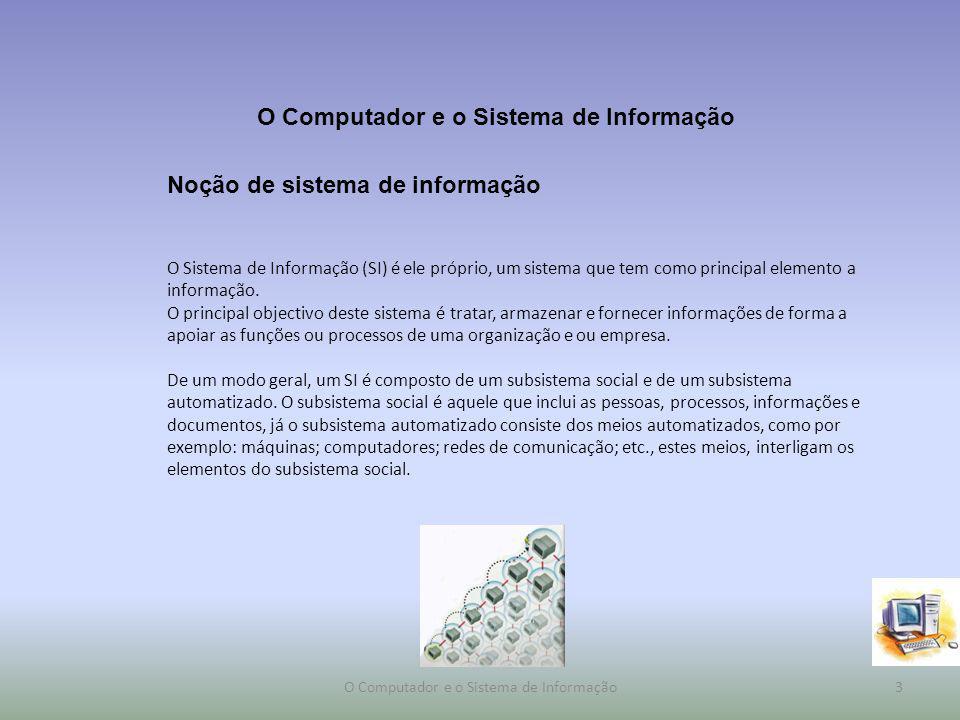 Noção de sistema de informação Os sistemas de gestão empresarial (ERP): responsáveis por administrar, automatizar ou apoiar todos os processos de uma organização de forma integrada.