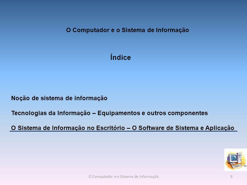 O Sistema de Informação no Escritório – O Software de Sistema e Aplicação Um sistema de informação é composto por todos os componentes que recolhem, manipulam e divulgam dados ou informação.