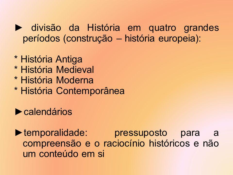 ► divisão da História em quatro grandes períodos (construção – história europeia): * História Antiga * História Medieval * História Moderna * História