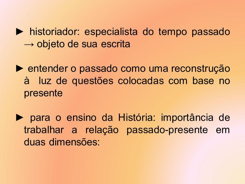 ► historiador: especialista do tempo passado → objeto de sua escrita ► entender o passado como uma reconstrução à luz de questões colocadas com base n