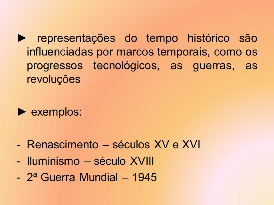 ► representações do tempo histórico são influenciadas por marcos temporais, como os progressos tecnológicos, as guerras, as revoluções ► exemplos: -Re