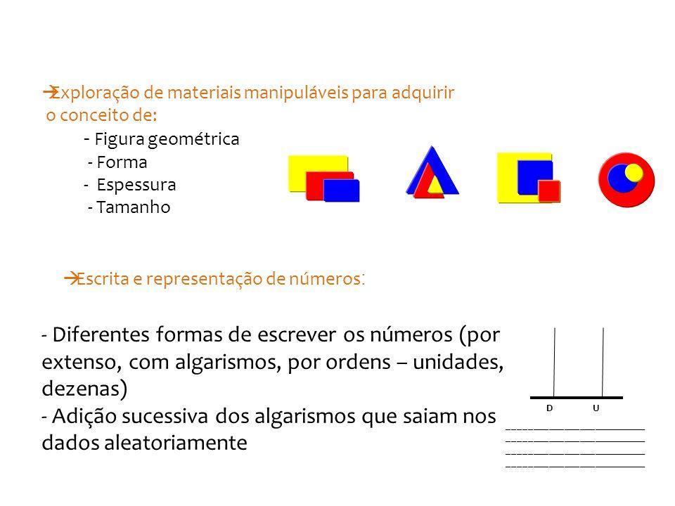 - Diferentes formas de escrever os números (por extenso, com algarismos, por ordens – unidades, dezenas) - Adição sucessiva dos algarismos que saiam nos dados aleatoriamente UD ___________________________ ___________________________ - Figura geométrica - Forma - Espessura - Tamanho  Exploração de materiais manipuláveis para adquirir o conceito de:  Escrita e representação de números :