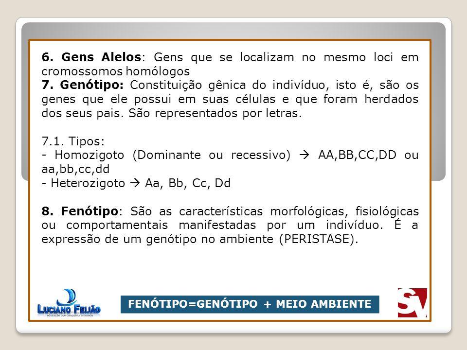 6. Gens Alelos: Gens que se localizam no mesmo loci em cromossomos homólogos 7. Genótipo: Constituição gênica do indivíduo, isto é, são os genes que e
