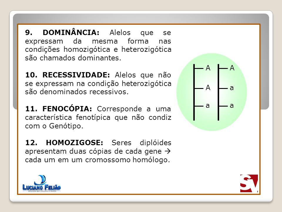 9. DOMINÂNCIA: Alelos que se expressam da mesma forma nas condições homozigótica e heterozigótica são chamados dominantes. 10. RECESSIVIDADE: Alelos q