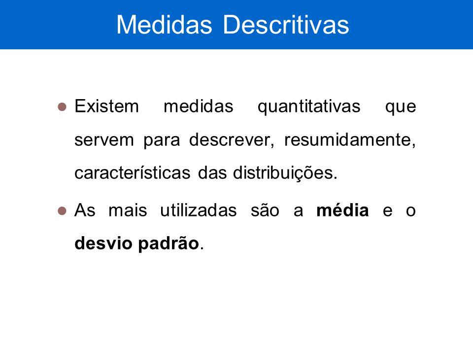 Medidas Descritivas Existem medidas quantitativas que servem para descrever, resumidamente, características das distribuições. As mais utilizadas são
