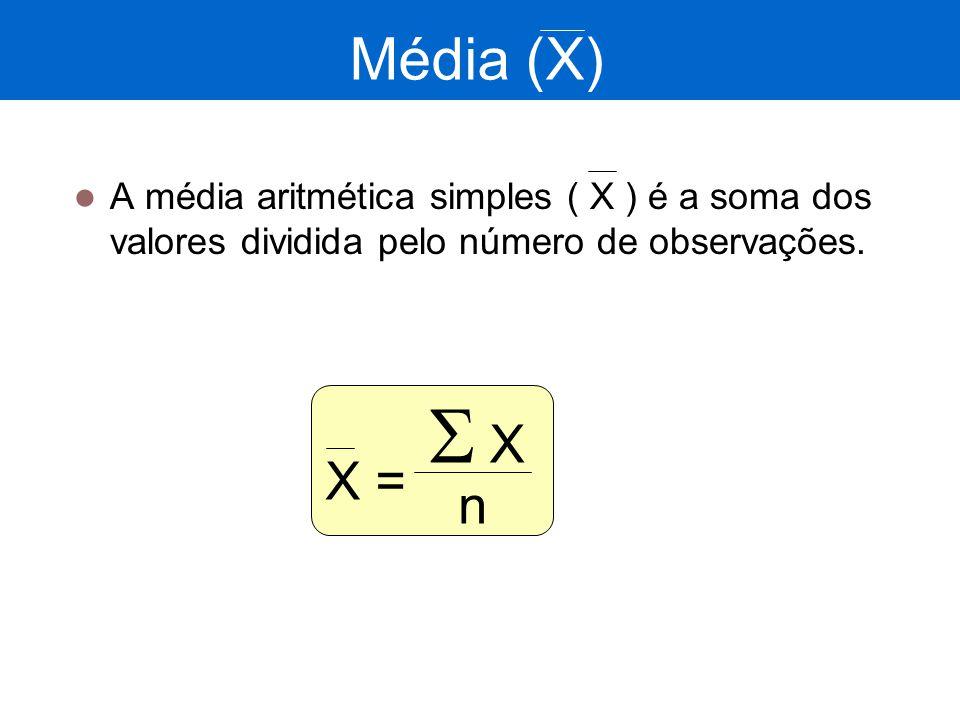 Média (X) A média aritmética simples ( X ) é a soma dos valores dividida pelo número de observações. X = XX n