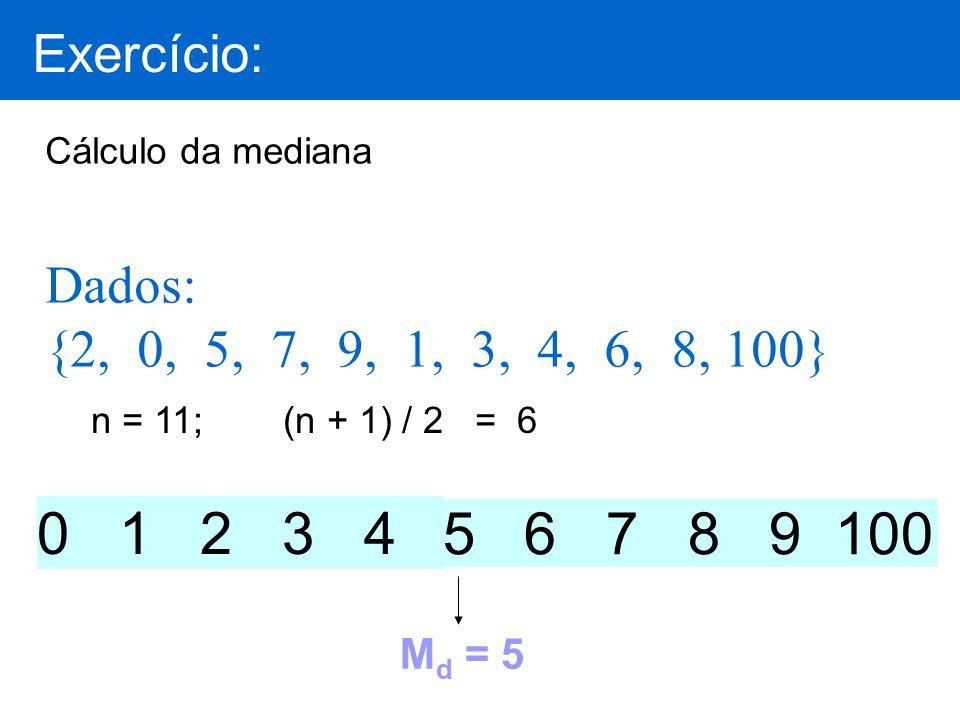 Cálculo da mediana Dados: {2, 0, 5, 7, 9, 1, 3, 4, 6, 8, 100} M d = 5 0 1 2 3 4 5 6 7 8 9 100 Exercício: n = 11;(n + 1) / 2 = 6